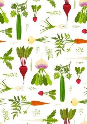 Plakát Listová zelenina a zelení bezešvé vzor na pozadí