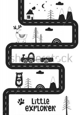 Plakát Little explorer - Cute hand drawn nursery poster with road, wild animals and car. Unique card in black and white scandinavian style. Monochrome vector illustration.