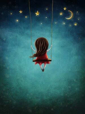Plakát Little fairy girl swingig