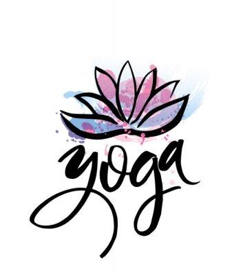 Plakát Logo pro cvičení jógy nebo meditace třídy. Spa logo designu akvarel prvky. Meditace koncepce. Silueta Lotos. Vektorové ilustrace pro t-shirt tisku