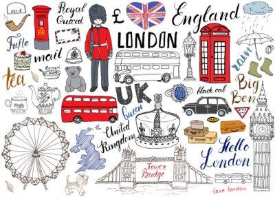 Plakát London City čmáranice prvky kolekce. Ručně malovaná sada s, Tower Bridge, koruny, Big Ben královské stráže, červené autobusy a černou kabiny, mapy Velké Británie a vlajky, konvice na čaj, nápisy, vekt