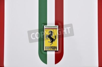 Plakát LONDON - SEPTEMBER 4, 2011: Ferrari logo, Italian flag painted on the bodywork of a Ferrari 360 Challenge Stradale