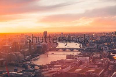 Plakát London Skyline - Temže - Západ slunce - Léto - Sky Garden - Orange