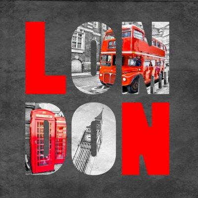 Plakát Londýn dopisy s obrazy na černém pozadí