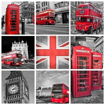 Plakát Londýn fotky koláže, Selektivní barva