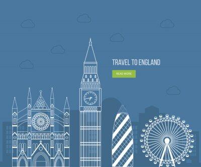 Plakát Londýn, Velká Británie ploché ikony pojmu výprava jezdit. Londýn