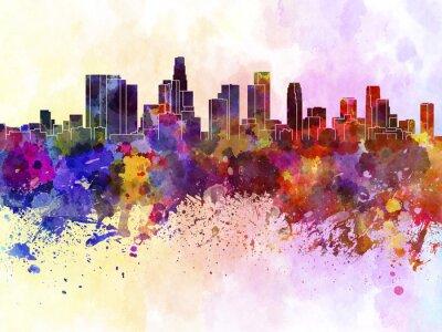 Plakát Los Angeles panorama v akvarelu pozadí