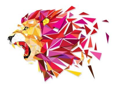 Plakát Low polygon Llion geometric pattern explode - Vector illustratio