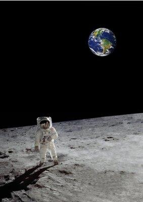 Plakát lunární chůze pod zářící zemi (některé prvky s laskavým svolením NASA)