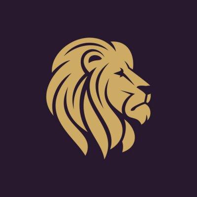 Plakát Lví hlavy logo nebo ikonu v jedné barvě. Sklad vektorové ilustrace.