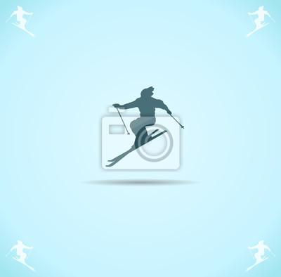 Plakát lyžař