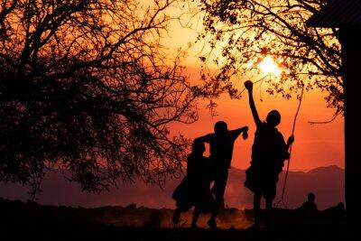 Plakát Maasai Kids Silhouette