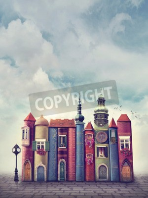 Plakát Magie město se starými knihami
