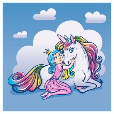Plakát Malá princezna a roztomilý jednorožce, vektorové ilustrace