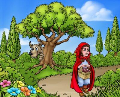 Plakát Malá scéna s červenou jezdeckou kresbou