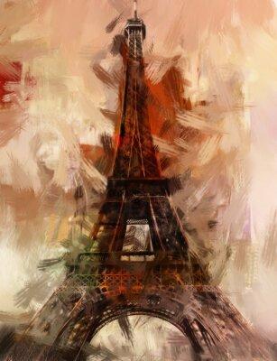 Plakát Malba Paříž Eiffelova věž Eiffelova věž obrázek Art olejomalba