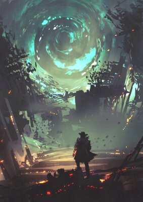 Plakát man with futuristic arm looking at glowing spiral wind over the ruined city, digital art style, illustration painting
