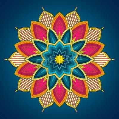 Plakát Mandala. Etnické krajky kolo okrasných vzor. Krásné ruce tažené květ. Může být použit pro textilie designu, ozdobné předměty z papíru, webdesign, výšivky, tetování, atd.