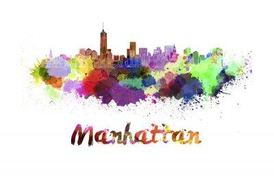 Plakát Manhattan panorama v akvarel