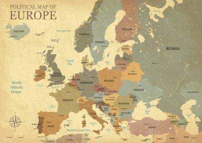 Plakát Mapa Evropy s hlavními písmeny - Vintage texture - Anglický / americký jazyk - Vector CMYK