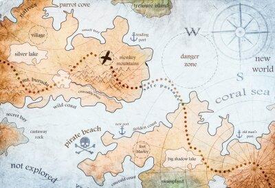 Plakát mapa ostrova pirát poklad