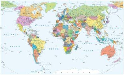 Plakát Mapa politických světů - hranice, země a města
