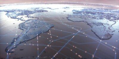 Plakát Mapa světa se satelitními datovými spojeními. Připojení na celém světě.
