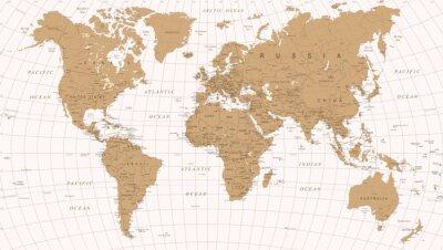 Plakát Mapa světa Vintage Vector