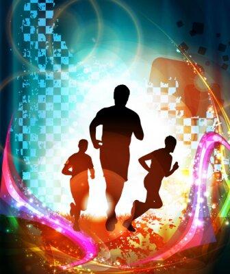 Plakát Marathon běžci. Vektor
