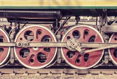 Plakát Mechanická část a kola parní lokomotivy.