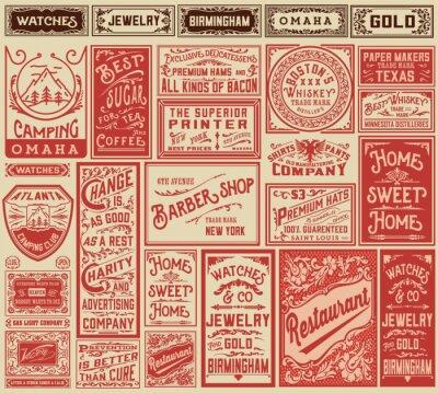 Plakát Mega pack retro vzory reklamy a štítky - Vector illust