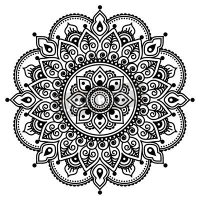 Plakát Mehndi, tetování hennou indický vzor nebo pozadí