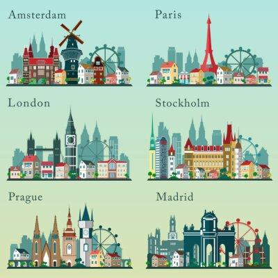 Plakát Města panoramata set. Vektorové ploché krajiny. Evropská města cityscapes