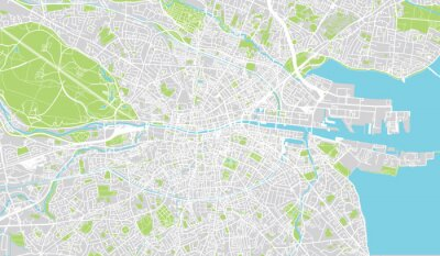 Plakát Městská mapa města Dublin, Irsko