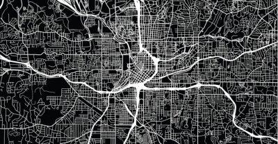 Plakát Městská vektorová mapa města Atlanty, Gruzie, Spojené státy americké