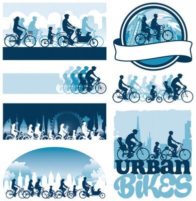 Plakát Městské cyklisté editovatelné vektorové siluety etikety