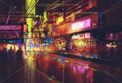 Plakát městské ulice s osvětlením a noční život, digitální malba