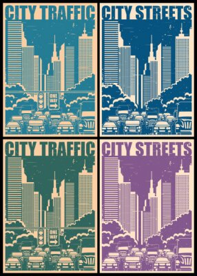 Plakát městských ulic retro plakáty