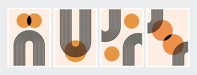 Plakát Mid century abstract contemporary aesthetic design  set with geometric balance shapes, modern minimalist artprint.