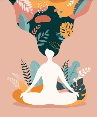 Plakát Mindfulness, meditation and yoga background in pastel vintage colors - women sitting with crossed legs and meditating.