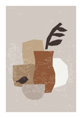 Plakát Minimal wall art poster with abstract organic shapes composition in trendy contemporary collage style