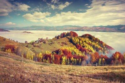Plakát Mlhavé podzimní ráno v karpatských horách.