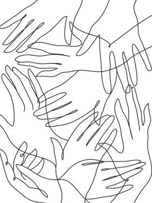 Plakát Mnoho rukou čárové grafiky