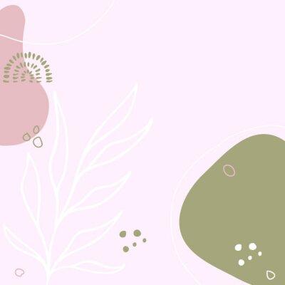 Plakát Modern abstract floral art vector leaves background.