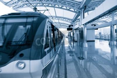 Plakát Moderní architektura světla železniční stanice v čínské Šanghaji.