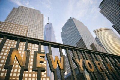 Plakát Moderní mrakodrapy Downtown Manhattan New York City Skyline Tower do modré oblohy