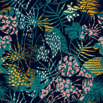 Plakát Módní exotický vzor bezešvé s tropickými rostlinami a zvířecími tisky. Vektorové ilustrace. Moderní abstraktní design pro papír, tapety, kryt, textilie, interiérové dekorace a další uživatele