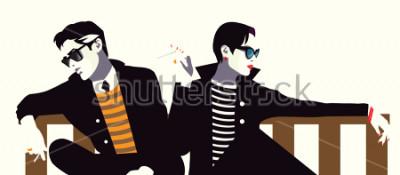 Plakát Módní muž a žena ve stylu pop art.
