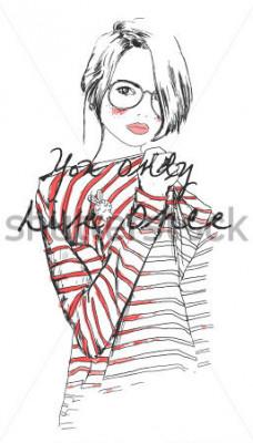Plakát módní skica kreslení dívka s akvarelem