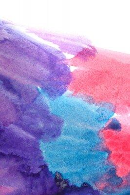 Plakát Modrá, fialová, červená abstraktní akvarely.